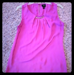 Magenta tank top with gold detail